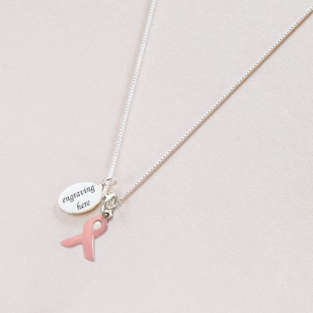 Engraved Breast Cancer Awareness Ribbon Necklace